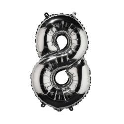 """UPPER CLASS Fóliový balónek """"8"""" - stříbrná"""