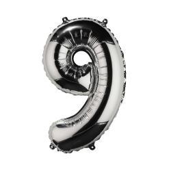 """UPPER CLASS Fóliový balónek """"9"""" - stříbrná"""