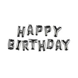 "UPPER CLASS Fóliový balónek ""HAPPY BIRTHDAY"" - stříbrná"