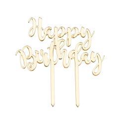 """CELEBRATION Dekorace na dort """"Happy Birthday"""" - zlatá"""