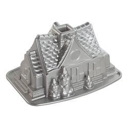 Forma na perníkovou chaloupku Gingerbread House Bundt® stříbrná Nordic Ware