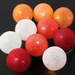 LES BELLES Světelný řetěz 10 koulí - červená/oranžová/bílá