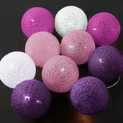 LES BELLES Světelný řetěz 10 koulí - růžová/fialová/bílá