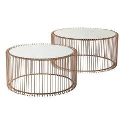 Sada 2 konferenčních stolků v dekoru mědi Kare Design Wire Big