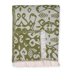 Tmavě zelený pléd s podílem bavlny Euromant Summer Linen, 140 x 180 cm