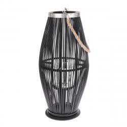 Bambusová lucerna se sklem Delgada tmavě hnědá, 59 x 29 cm