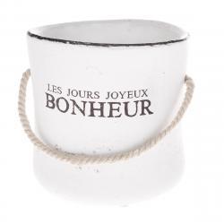 Keramický obal na květináč Bonheur bílá, 15 cm