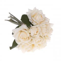 Umělá kytice růží béžová, 26 cm