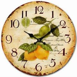 Dřevěné nástěnné hodiny Vintage lemons, pr. 34 cm