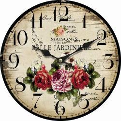 Dřevěné nástěnné hodiny Belle Jardiniere, pr. 34 cm