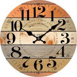 Dřevěné nástěnné hodiny Rue Murillo, pr. 34 cm