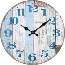 Dřevěné nástěnné hodiny Chiffres bleus, pr. 34 cm