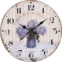 Dřevěné nástěnné hodiny Vintage lavender, pr. 34 cm