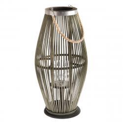 Bambusová lucerna se sklem Delgada zelená, 59 x 29 cm
