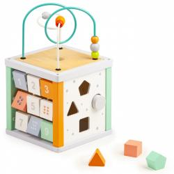 ECOTOYS Vzdělávací dřevěná kostka pro děti + malé kostičky