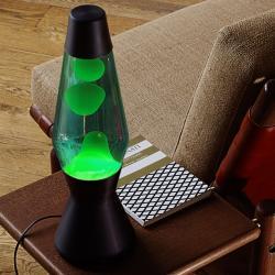 Mathmos SO41B + AST1202 Astro černá, originální lávová lampa, matně černá s modrou tekutinou a zelenou lávou, výška 43cm
