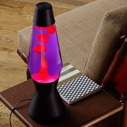 Mathmos Astro černá, originální lávová lampa, matně černá s fialovou tekutinou a červenou lávou, výška 43cm