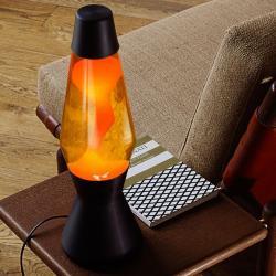 Mathmos SO41B + AST1226 Astro černá, originální lávová lampa, matně černá se žlutou tekutinou a oranžovou lávou, výška 43cm