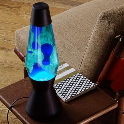 Mathmos Astro černá, originální lávová lampa, matně černá s modrou tekutinou a modrou lávou, výška 43cm