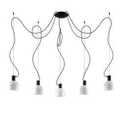 Lucande Lucande Serina závěsné světlo 5 zdrojů, sklo, bílá