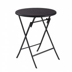 MODERNHOME Skládací zahradní stolek rattan 60 cm černý