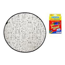 Barvící koberec Mr. Little Fox Field Full of Animals, ø 130 cm