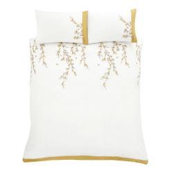 Bílo-žluté povlečení Catherine Lansfield Embroidered Blossom, 220 x 230 cm