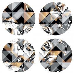 AG Art Podložka pod hrnek Geometric, kulatá, pr. 10 cm, sada 4 ks