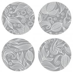 AG Art Podložka pod hrnek Leaves grey, kulatá, pr. 10 cm, sada 4 ks