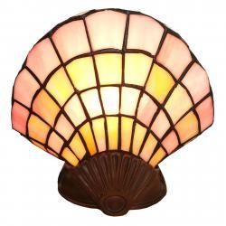 Clayre & Eef Deko-stolní lampa 6000,skleněná mušle styl Tiffany