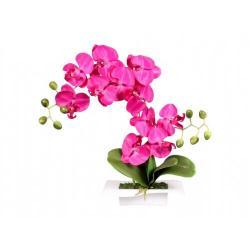 Umělá orchidej v misce 14 květů, 45 cm, fialová