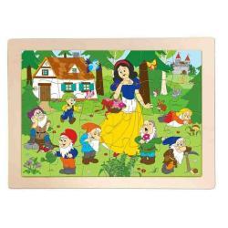Woody Dřevěné puzzle Sněhurka