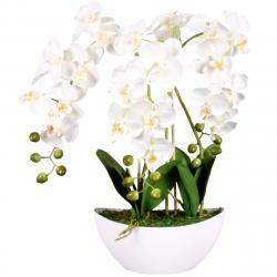 Umělá Orchidej v květináči bílá, 21 květů, 60 cm