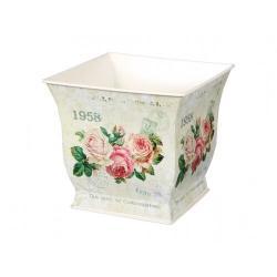 Plechový obal na květináč Květy růží, 15 x 14 x 15 cm
