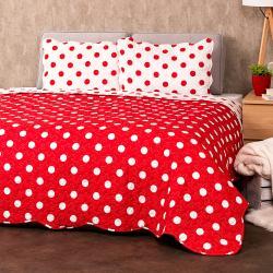 4Home Přehoz na postel Červený puntík, 220 x 240 cm, 2 ks 50 x 70 cm