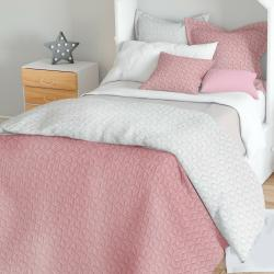 Domarex Oboustranný přehoz na postel Atlanta ecru/růžová, 220 x 240 cm