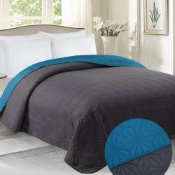 Domarex Oboustranný přehoz na postel Vera grafitová/modrá, 220 x 240 cm