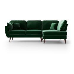 Zelená sametová rohová pohovka My Pop Design Auteuil, pravý roh