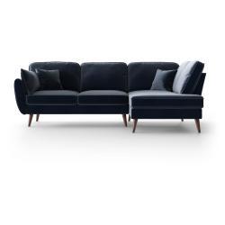 Tmavě modrá sametová rohová pohovka My Pop Design Auteuil, pravý roh