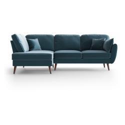 Světle modrá sametová rohová pohovka My Pop Design Auteuil, levý roh