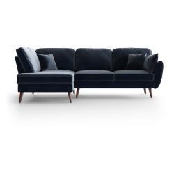 Tmavě modrá sametová rohová pohovka My Pop Design Auteuil, levý roh