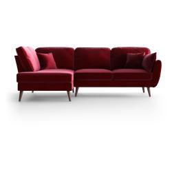 Červená sametová rohová pohovka My Pop Design Auteuil, levý roh