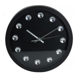 DekorStyle Nástěnné hodiny s kameny černé