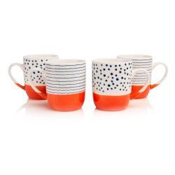 Sada 4 hrnků z asijské imitace porcelánu Sabichi Tangerine, 370ml