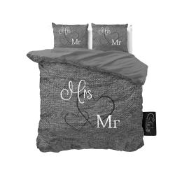 Antracitově šedé bavlněné povlečení na dvoulůžko Pure Cotton Mr and Mrs,200x200cm