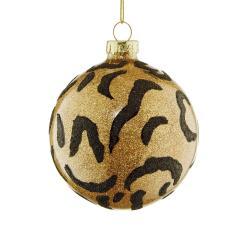 HANG ON Skleněná ozdoba koule s leopardím vzorem 8 cm