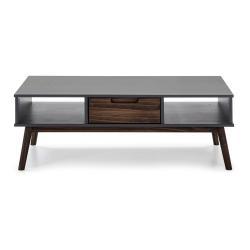 Antracitově šedý konferenční stolek z borovicového dřeva Marckeric Nussa, 110 x 55 cm