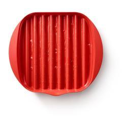 Červená plastová nádoba na přípravu slaniny Lékué Bacon