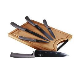 Berlinger HausSada nožů s nepřilnavým povrchem + prkénko 6 ks Carbon PRO Line