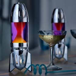 Mathmos Fireflow R1 Silver, originální lávová lampa stříbrná s žlutou tekutinou a oranžovou lávou, pro čajovou svíčku, výška 24cm